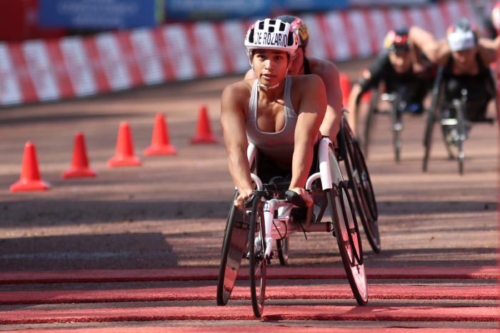 Madison de Rozario finishes the elite women's wheelchair race at the London Marathon.