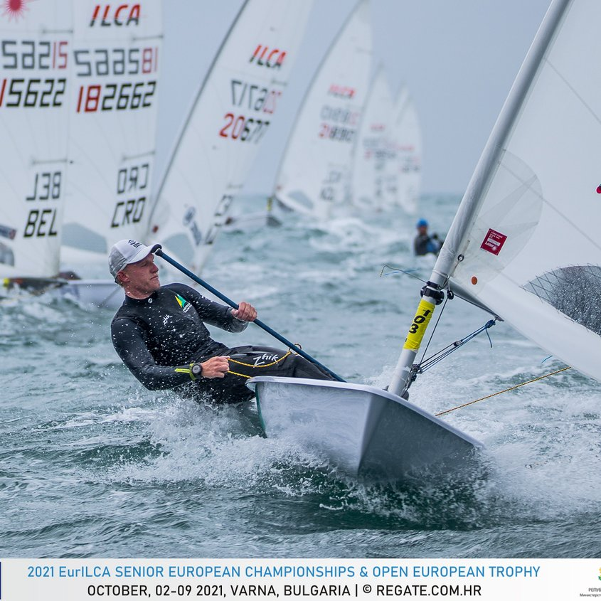 Finn finds form to finish 13th at the 2021 EurILCA Senior European Championships Image