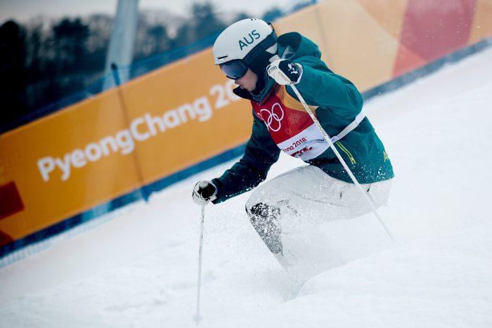 Jakara Anthony mid-ski at the 2018 PyeongChang Winter Olympics